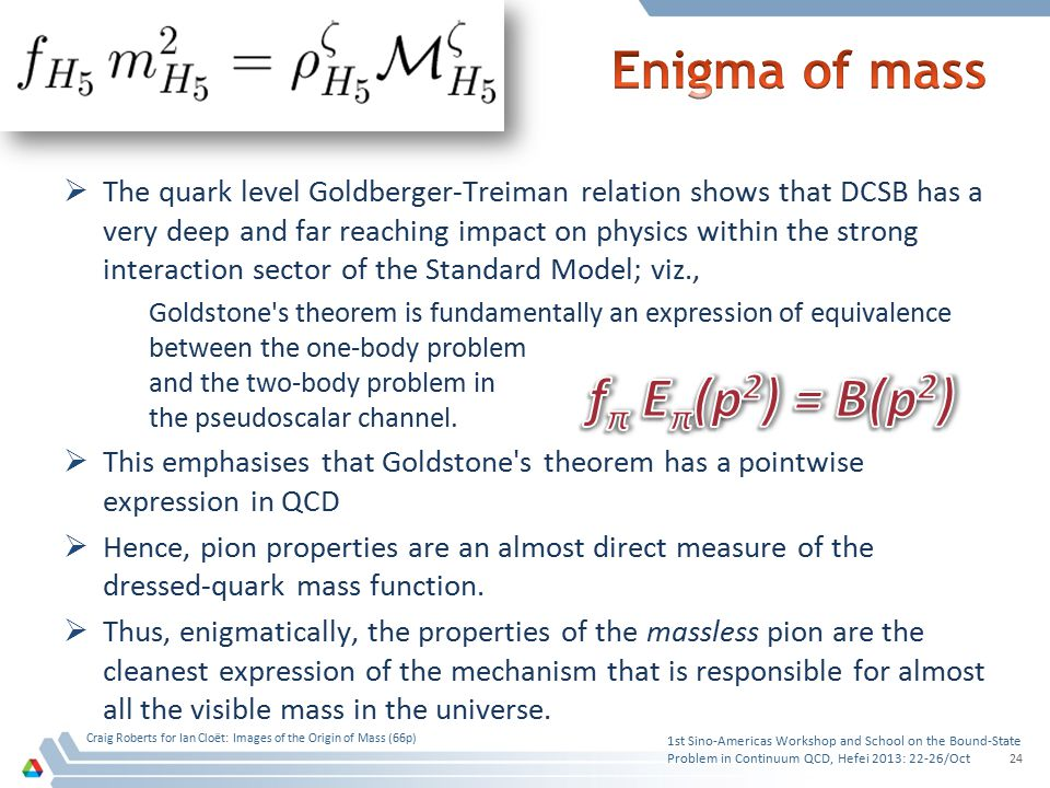  The quark level Goldberger-Treiman relation shows that DCSB has a very deep and far reaching impact on physics within the strong interaction sector