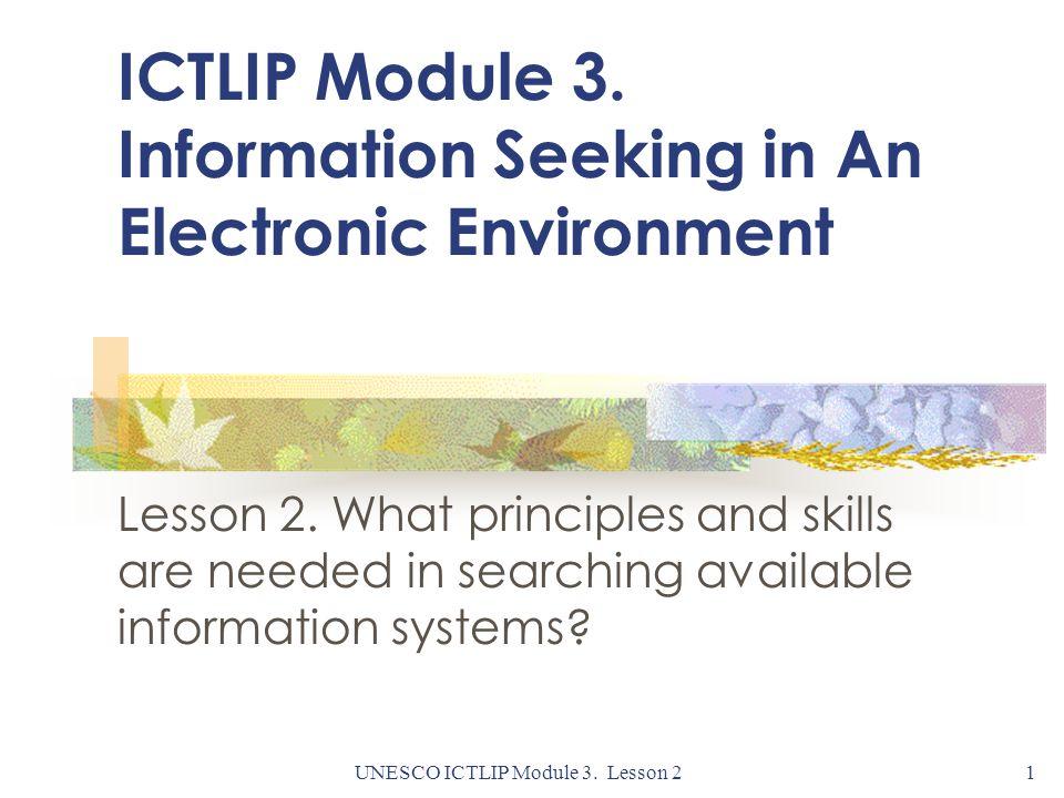 UNESCO ICTLIP Module 3. Lesson 21 ICTLIP Module 3.