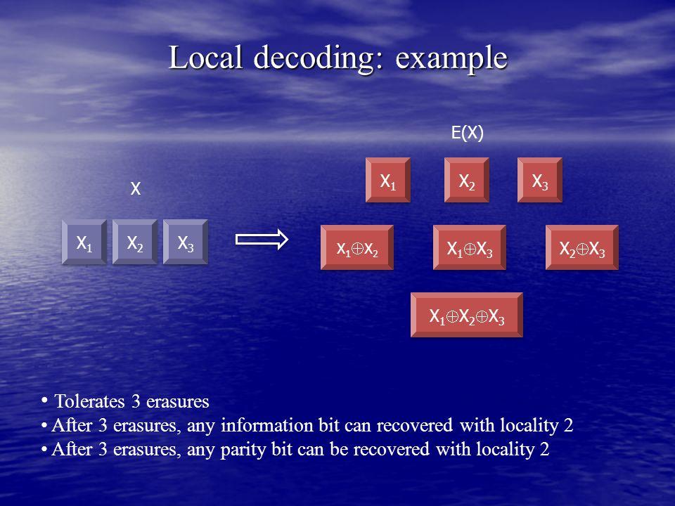 Local decoding: example X1X1 X1X1 X E(X) Tolerates 3 erasures After 3 erasures, any information bit can recovered with locality 2 After 3 erasures, any parity bit can be recovered with locality 2 X2X2 X2X2 X3X3 X3X3 X1X1 X1X1 X1X2X1X2 X1X2X1X2 X2X2 X2X2 X3X3 X3X3 X1X3X1X3 X1X3X1X3 X2X3X2X3 X2X3X2X3 X1X2X3X1X2X3 X1X2X3X1X2X3