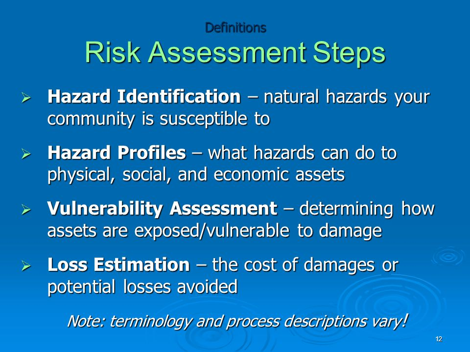 Definitions Risk Assessment Steps  Hazard Identification – natural hazards your community is susceptible to  Hazard Profiles – what hazards can do to physical, social, and economic assets  Vulnerability Assessment – determining how assets are exposed/vulnerable to damage  Loss Estimation – the cost of damages or potential losses avoided Note: terminology and process descriptions vary .