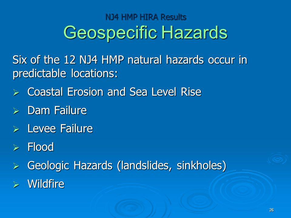 NJ4 HMP HIRA Results Geospecific Hazards Six of the 12 NJ4 HMP natural hazards occur in predictable locations:  Coastal Erosion and Sea Level Rise 