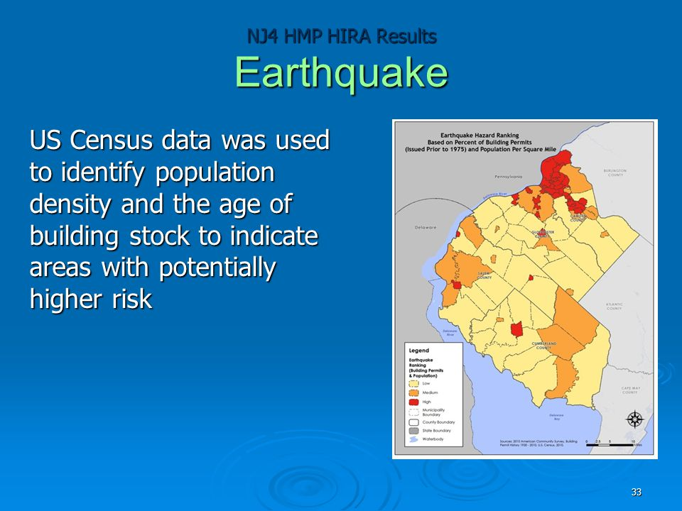 NJ4 HMP HIRA Results Earthquake US Census data was used to identify population density and the age of building stock to indicate areas with potentiall