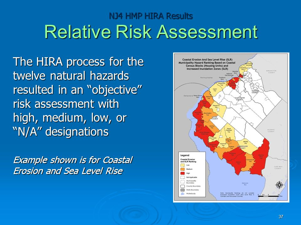 """NJ4 HMP HIRA Results Relative Risk Assessment The HIRA process for the twelve natural hazards resulted in an """"objective"""" risk assessment with high, me"""