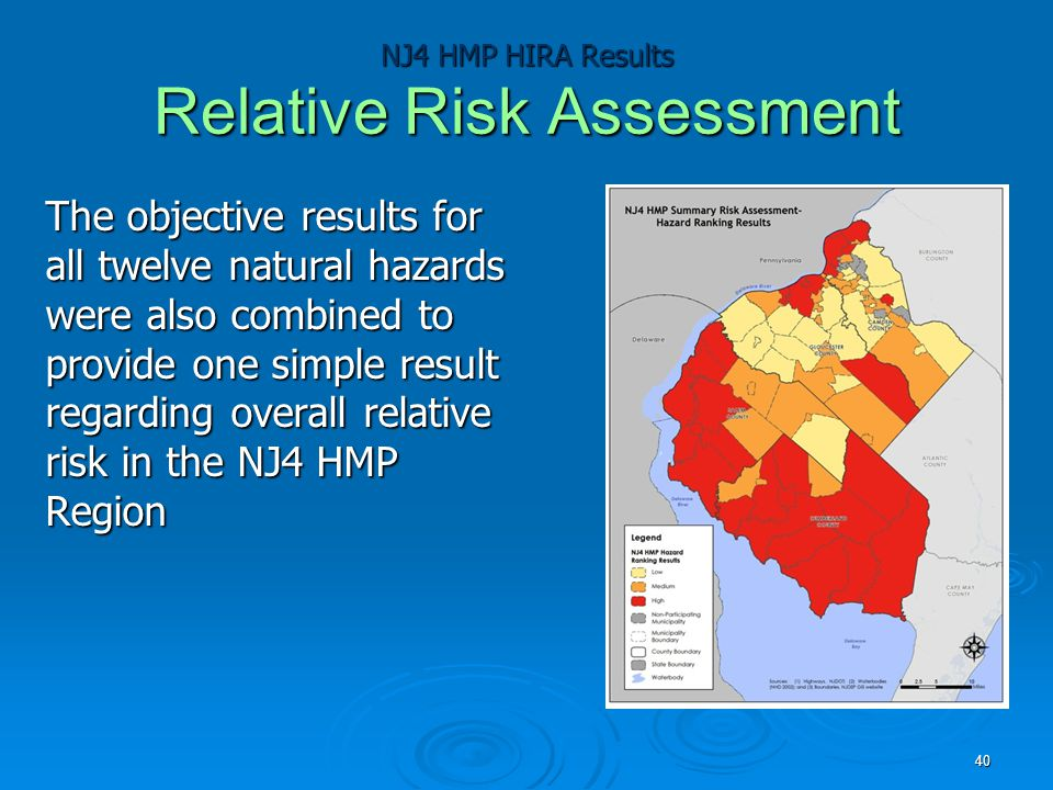 NJ4 HMP HIRA Results Relative Risk Assessment The objective results for all twelve natural hazards were also combined to provide one simple result regarding overall relative risk in the NJ4 HMP Region 40
