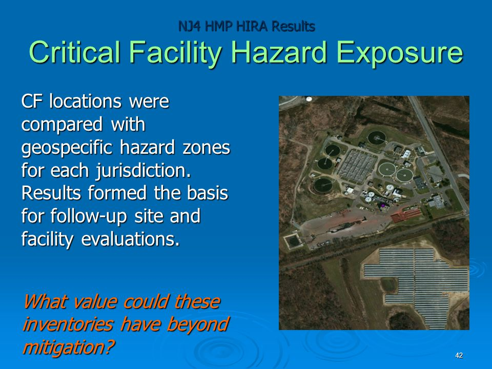 NJ4 HMP HIRA Results Critical Facility Hazard Exposure CF locations were compared with geospecific hazard zones for each jurisdiction.