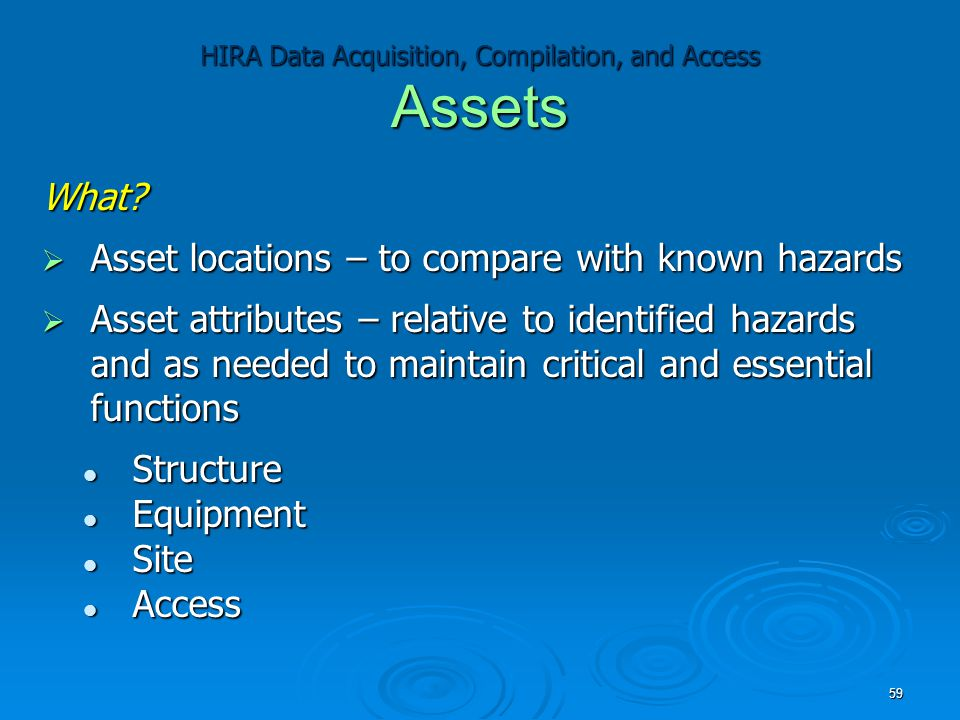 HIRA Data Acquisition, Compilation, and Access Assets What?  Asset locations – to compare with known hazards  Asset attributes – relative to identif