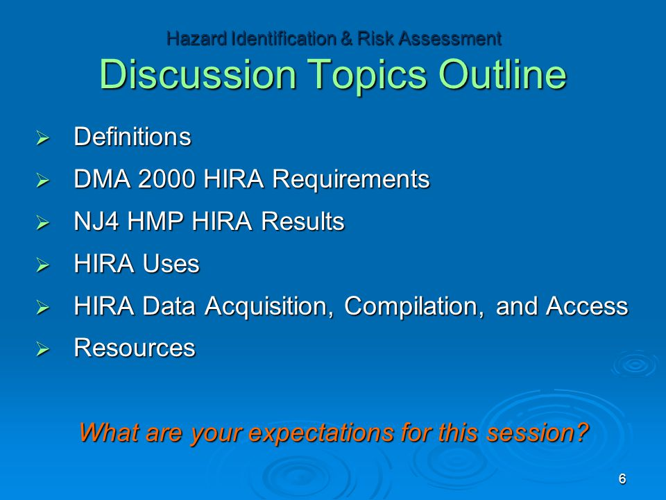  Definitions  DMA 2000 HIRA Requirements  NJ4 HMP HIRA Results  HIRA Uses  HIRA Data Acquisition, Compilation, and Access  Resources What are your expectations for this session.
