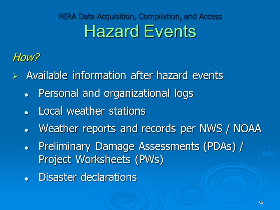 HIRA Data Acquisition, Compilation, and Access Hazard Events How?  Available information after hazard events Personal and organizational logs Persona