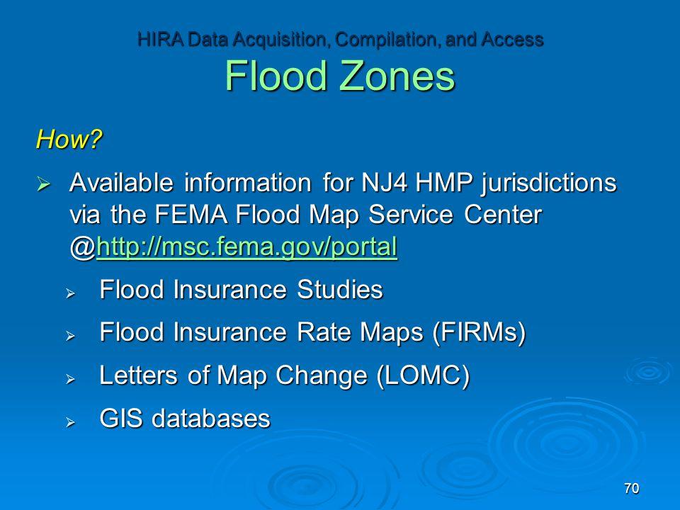 How?  Available information for NJ4 HMP jurisdictions via the FEMA Flood Map Service Center @http://msc.fema.gov/portal http://msc.fema.gov/portal 