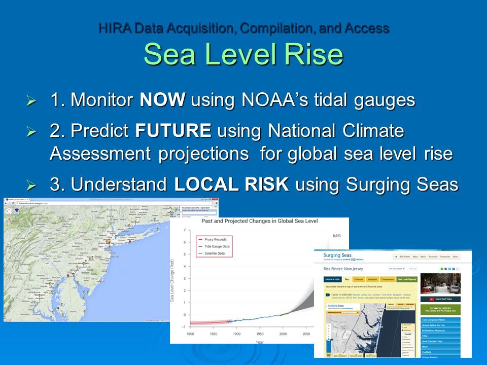  1. Monitor NOW using NOAA's tidal gauges  2. Predict FUTURE using National Climate Assessment projections for global sea level rise  3. Understand