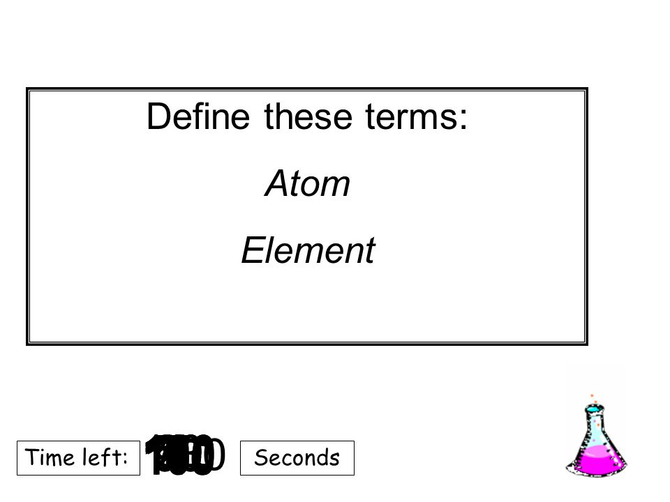 180 170 160 150 140130120 110100 90 80 7060504030 20 1098765432 1 0 Time left:Seconds Define these terms: Atom Element