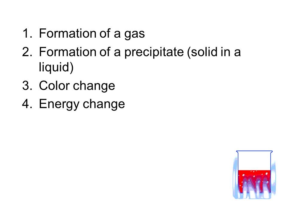 1.Formation of a gas 2.Formation of a precipitate (solid in a liquid) 3.Color change 4.Energy change