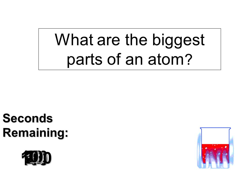 180 170 160 150 140130120 110100 90 80 7060504030 20 1098765432 1 0 SecondsRemaining: What are the biggest parts of an atom ?