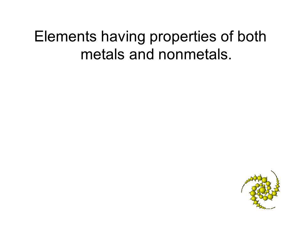 Elements having properties of both metals and nonmetals.