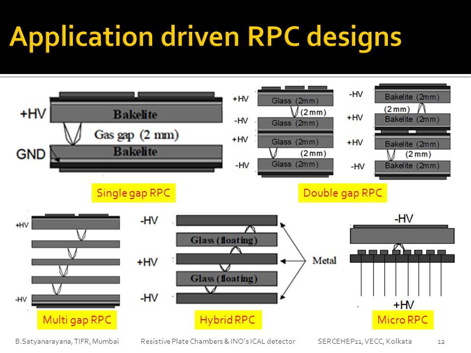 B.Satyanarayana, TIFR, Mumbai Resistive Plate Chambers & INO's ICAL detector SERCEHEP11, VECC, Kolkata 12 Multi gap RPC Double gap RPC Micro RPCHybrid