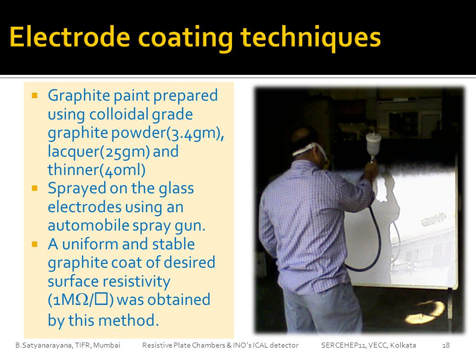  Graphite paint prepared using colloidal grade graphite powder(3.4gm), lacquer(25gm) and thinner(40ml)  Sprayed on the glass electrodes using an automobile spray gun.