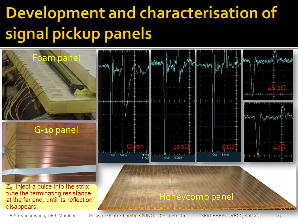 B.Satyanarayana, TIFR, Mumbai Resistive Plate Chambers & INO's ICAL detector SERCEHEP11, VECC, Kolkata 23 Open100Ω51Ω 48.2Ω 47Ω Honeycomb panel G-10 panel Foam panel Z 0 : Inject a pulse into the strip; tune the terminating resistance at the far end, until its reflection disappears.