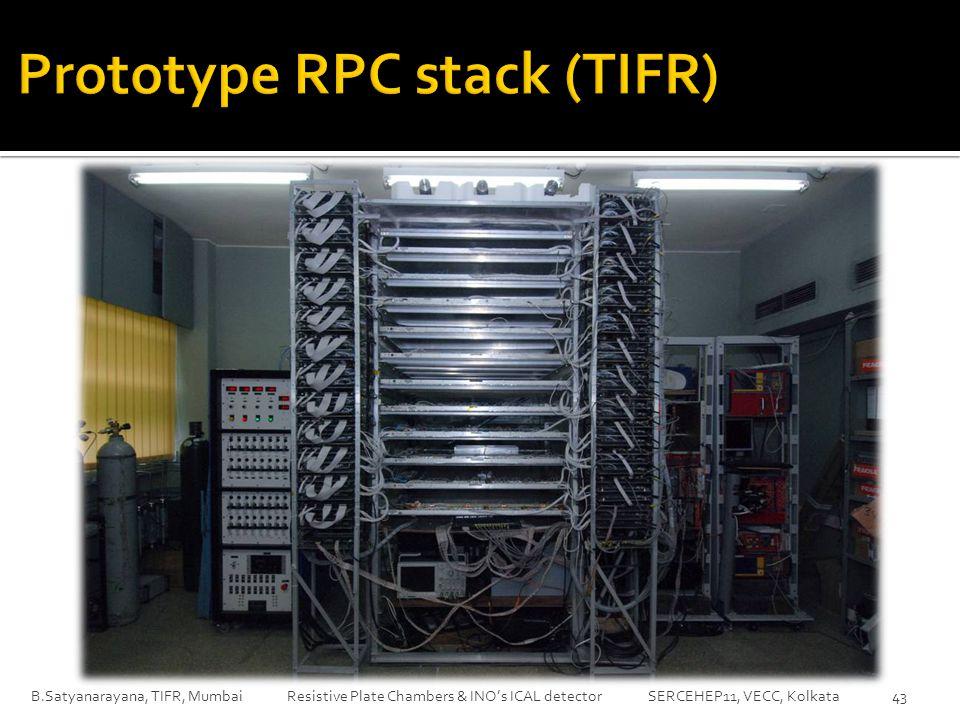 B.Satyanarayana, TIFR, Mumbai Resistive Plate Chambers & INO's ICAL detector SERCEHEP11, VECC, Kolkata43