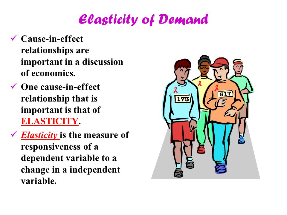 Elasticity of Demand Cause-in-effect relationships are important in a discussion of economics. One cause-in-effect relationship that is important is t