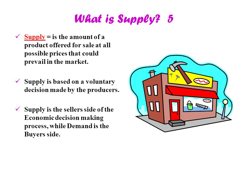 What is Supply? 5 Supply = is the amount of a product offered for sale at all possible prices that could prevail in the market. Supply is based on a v