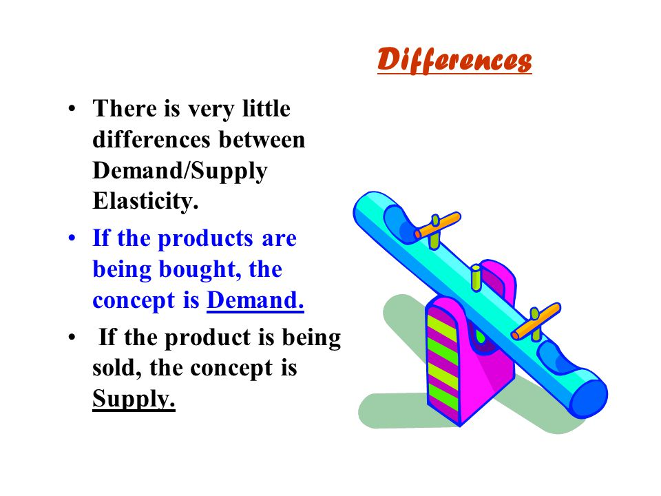 Differences There is very little differences between Demand/Supply Elasticity. If the products are being bought, the concept is Demand. If the product