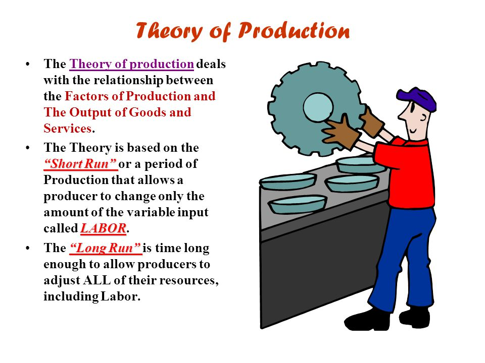 """Theory of Production The Theory of production deals with the relationship between the Factors of Production and The Output of Goods and Services. """"Sho"""