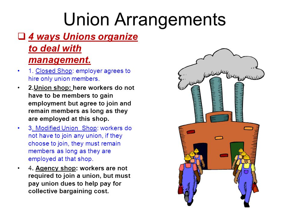 Union Arrangements  4 ways Unions organize to deal with management.