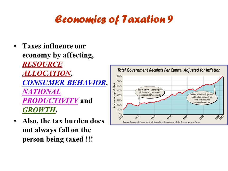 Economics of Taxation 9 Taxes influence our economy by affecting, RESOURCE ALLOCATION, CONSUMER BEHAVIOR, NATIONAL PRODUCTIVITY and GROWTH. Also, the