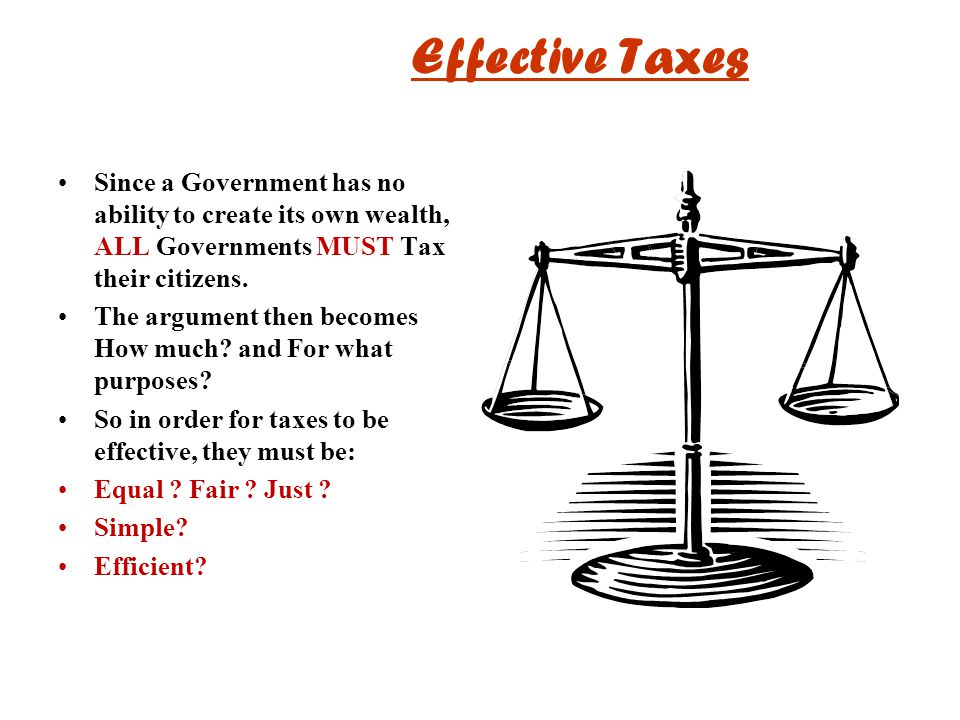 Effective Taxes Since a Government has no ability to create its own wealth, ALL Governments MUST Tax their citizens.