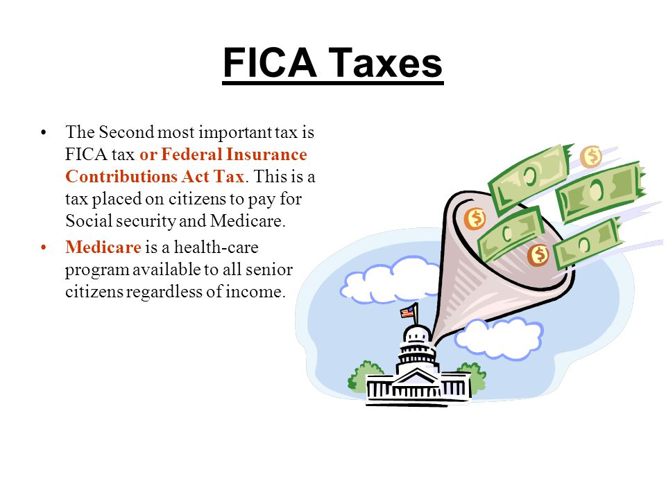 FICA Taxes The Second most important tax is FICA tax or Federal Insurance Contributions Act Tax.