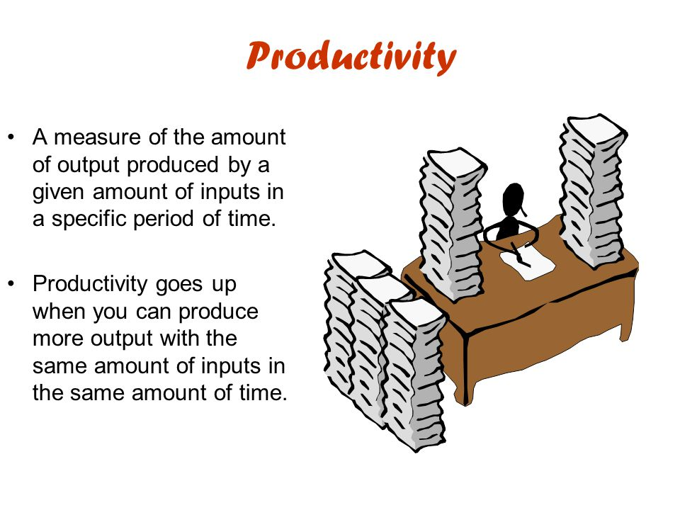 Productivity A measure of the amount of output produced by a given amount of inputs in a specific period of time. Productivity goes up when you can pr