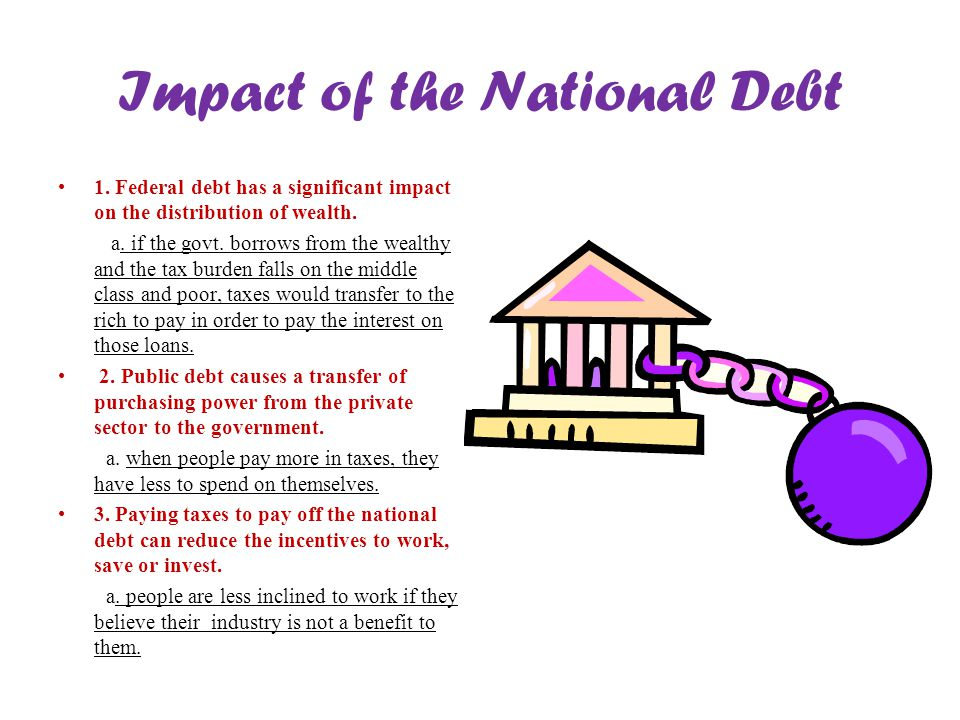 Impact of the National Debt 1. Federal debt has a significant impact on the distribution of wealth. a. if the govt. borrows from the wealthy and the t