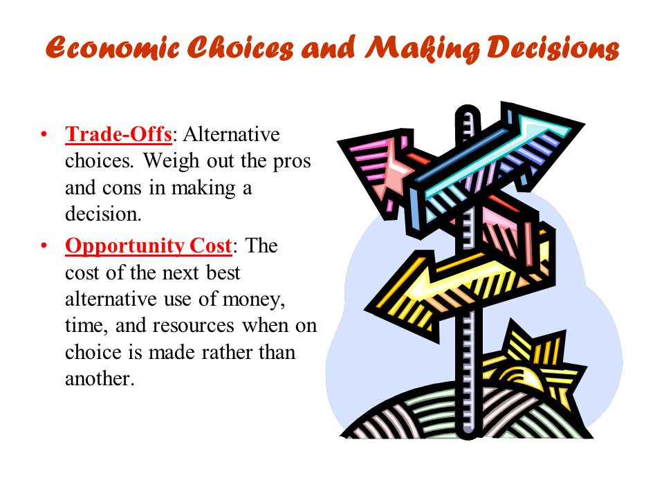 Economic Choices and Making Decisions Trade-Offs: Alternative choices. Weigh out the pros and cons in making a decision. Opportunity Cost: The cost of