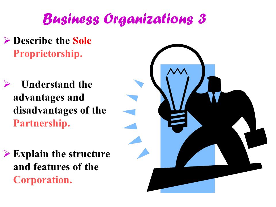 Business Organizations 3  Describe the Sole Proprietorship.  Understand the advantages and disadvantages of the Partnership.  Explain the structure