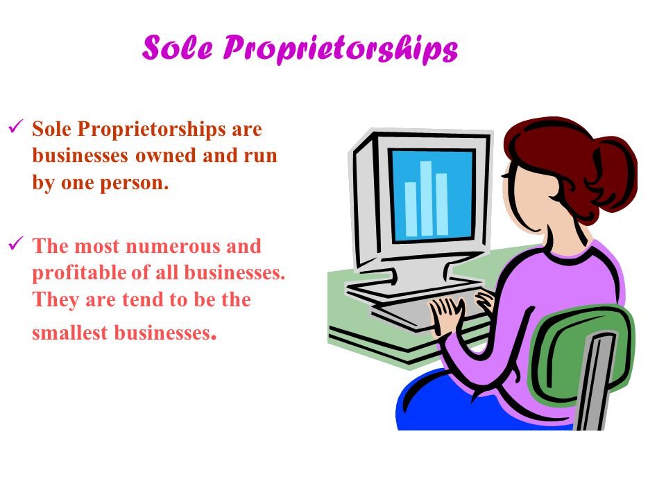 Sole Proprietorships Sole Proprietorships are businesses owned and run by one person. The most numerous and profitable of all businesses. They are ten