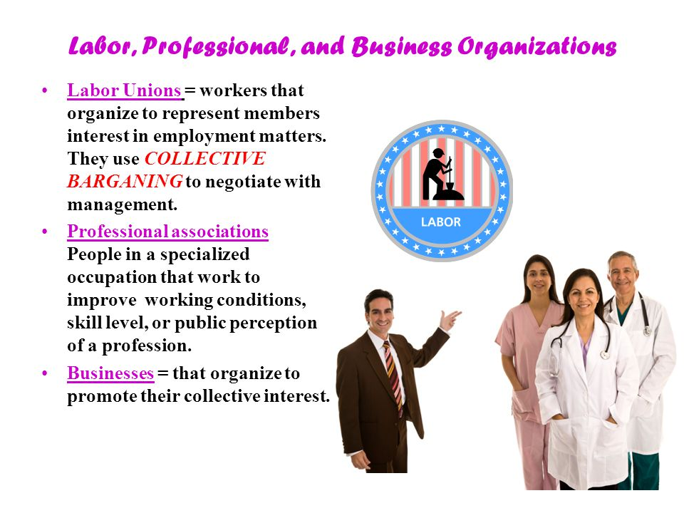 Labor, Professional, and Business Organizations Labor Unions = workers that organize to represent members interest in employment matters.