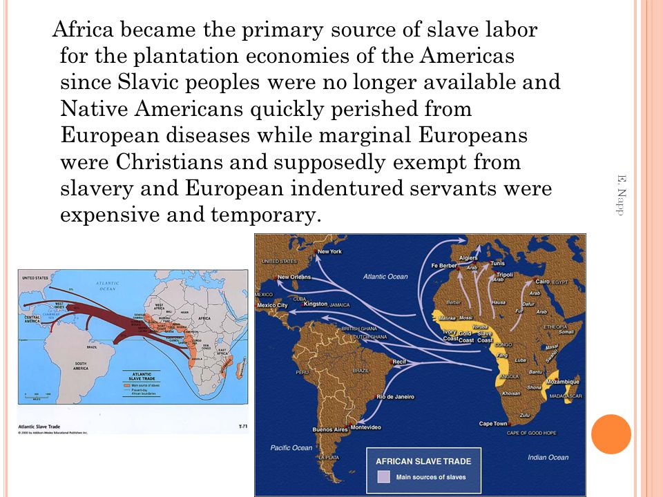 Africa became the primary source of slave labor for the plantation economies of the Americas since Slavic peoples were no longer available and Native Americans quickly perished from European diseases while marginal Europeans were Christians and supposedly exempt from slavery and European indentured servants were expensive and temporary.