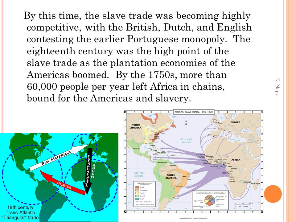 By this time, the slave trade was becoming highly competitive, with the British, Dutch, and English contesting the earlier Portuguese monopoly.
