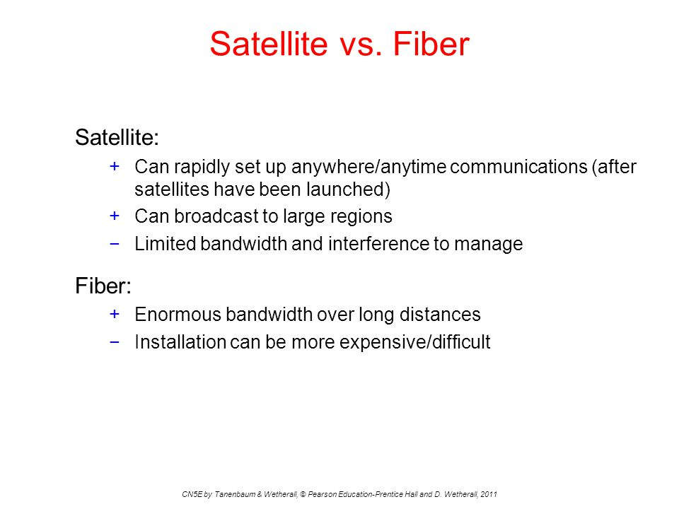 Satellite vs. Fiber CN5E by Tanenbaum & Wetherall, © Pearson Education-Prentice Hall and D.