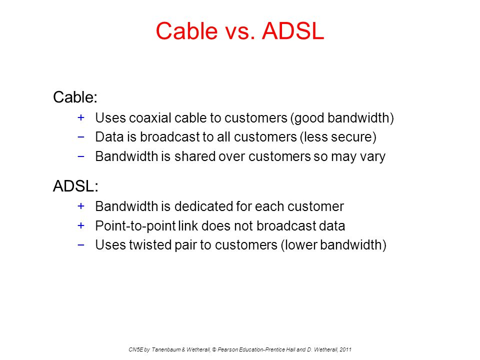 Cable vs. ADSL CN5E by Tanenbaum & Wetherall, © Pearson Education-Prentice Hall and D.