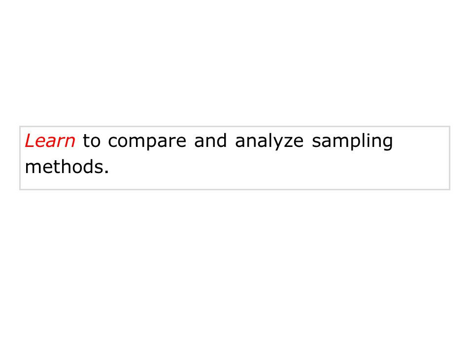 Learn to compare and analyze sampling methods.