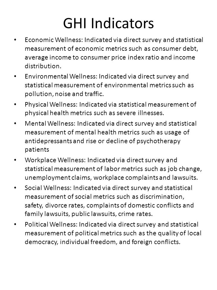 GHI Indicators Economic Wellness: Indicated via direct survey and statistical measurement of economic metrics such as consumer debt, average income to consumer price index ratio and income distribution.