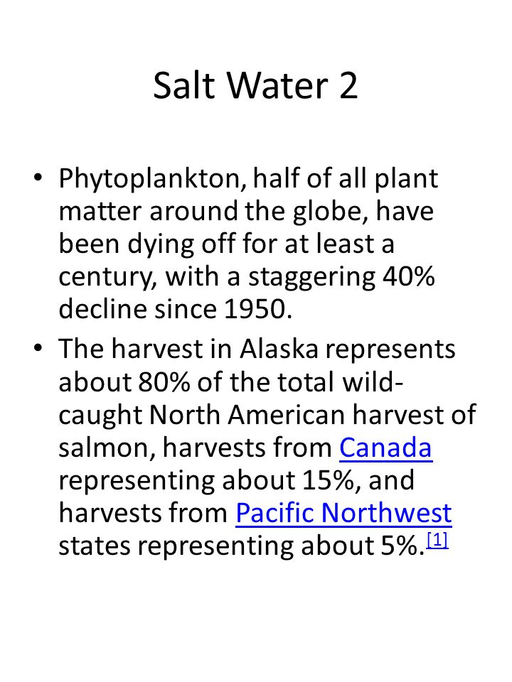 Salt Water 2 Phytoplankton, half of all plant matter around the globe, have been dying off for at least a century, with a staggering 40% decline since 1950.