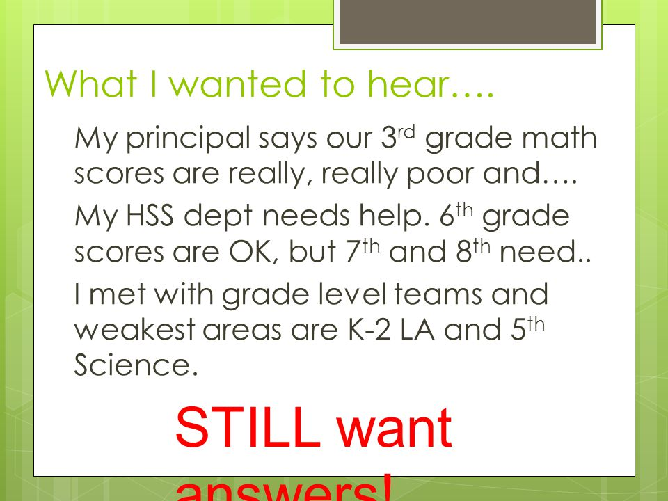 What I wanted to hear…. My principal says our 3 rd grade math scores are really, really poor and….