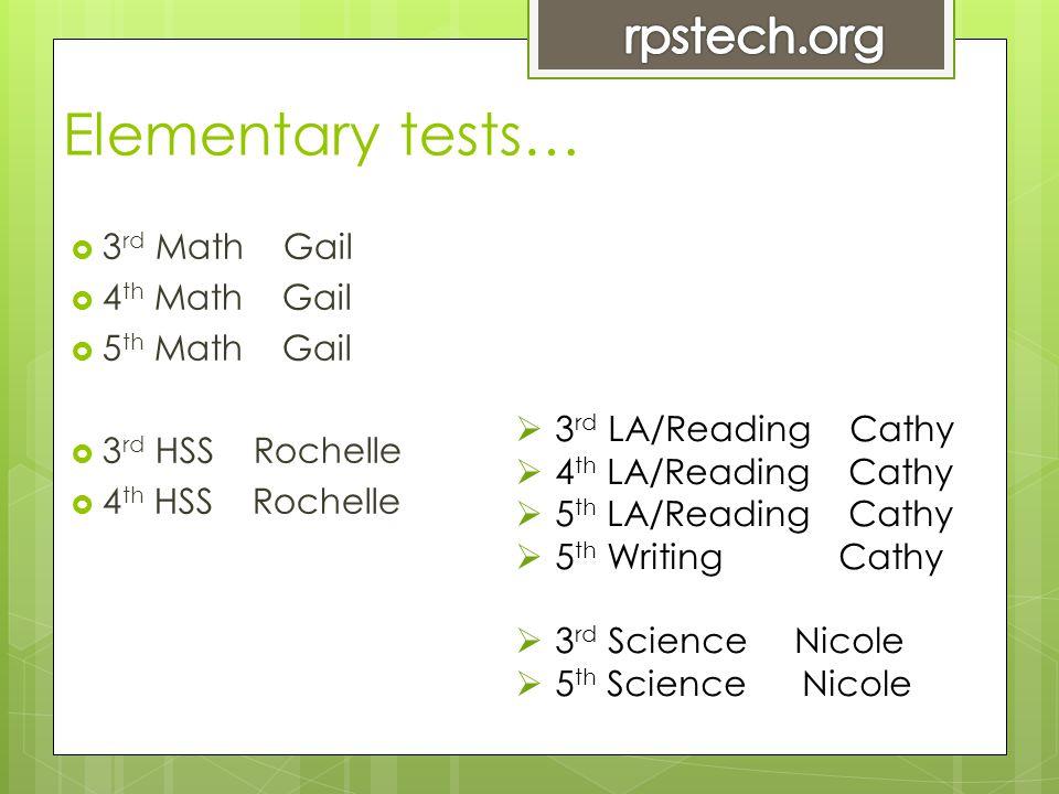 Elementary tests…  3 rd Math Gail  4 th Math Gail  5 th Math Gail  3 rd HSS Rochelle  4 th HSS Rochelle  3 rd LA/Reading Cathy  4 th LA/Reading Cathy  5 th LA/Reading Cathy  5 th Writing Cathy  3 rd Science Nicole  5 th Science Nicole