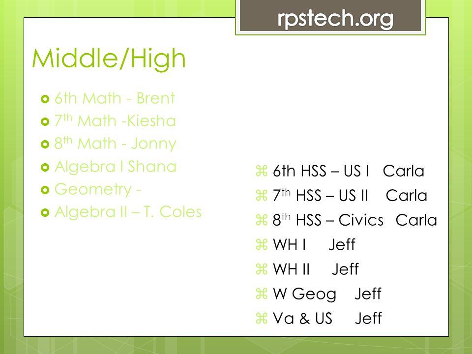 Middle/High  6th Math - Brent  7 th Math -Kiesha  8 th Math - Jonny  Algebra I Shana  Geometry -  Algebra II – T.