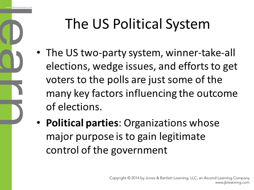 The US Political System The US two-party system, winner-take-all elections, wedge issues, and efforts to get voters to the polls are just some of the