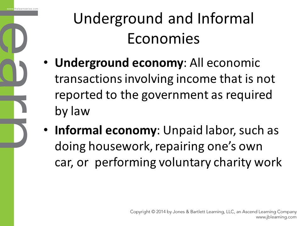 Underground and Informal Economies Underground economy: All economic transactions involving income that is not reported to the government as required