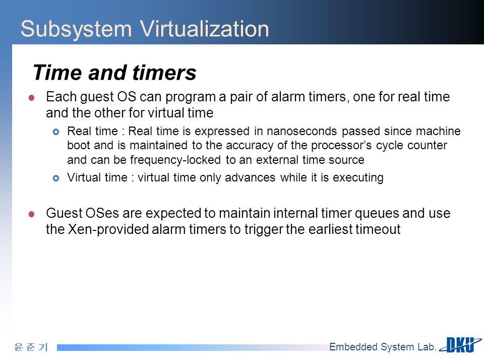 윤 준 기윤 준 기 Embedded System Lab. Subsystem Virtualization Time and timers Each guest OS can program a pair of alarm timers, one for real time and the o