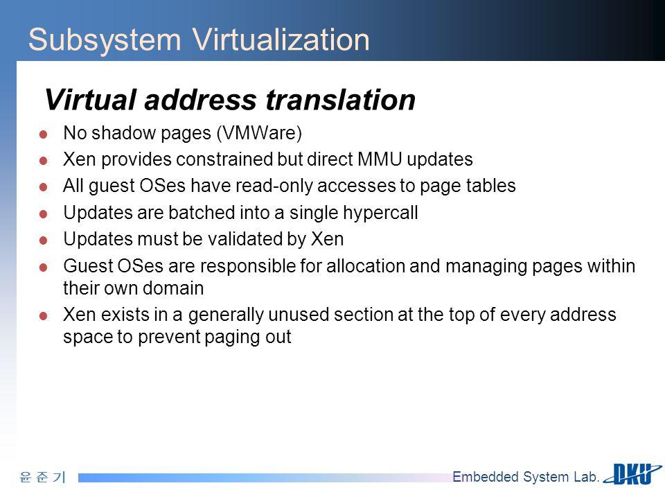윤 준 기윤 준 기 Embedded System Lab. Subsystem Virtualization Virtual address translation No shadow pages (VMWare) Xen provides constrained but direct MMU